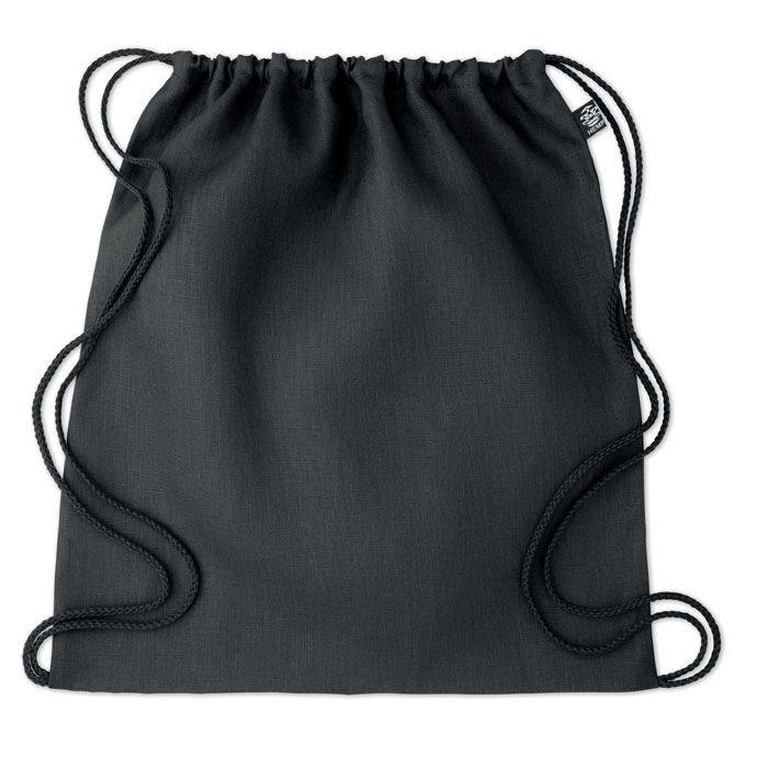 NAIMA BAG eco batoh z konopí stahovací černý