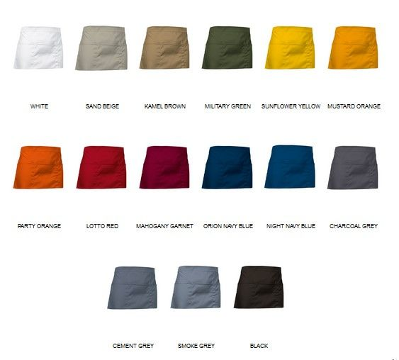 Barmanské, čísnické zástěry pro potisk - různé barvy