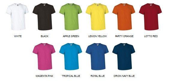 Bavlněná trička pro potisk, barevné varianty