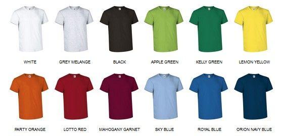 Bike barevná bavlněná trička k potisku, vzorník barev