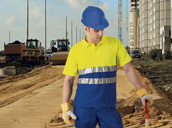 BUILD pracovní polokošile s reflexními pásky, žluto-modrá