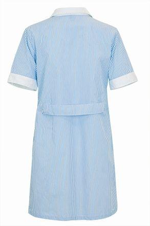 ALANIS dámská pracovní šatová zástěra modro-bílá, zadní díl