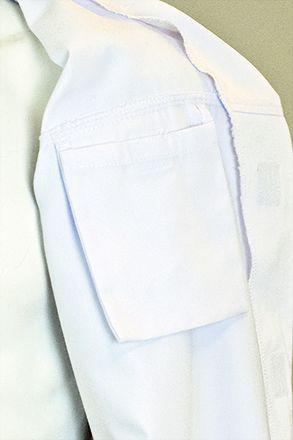 CLUSTER pracovní plášť bílý na suchý zip S-2XL, vnitřní náprsní kapsa