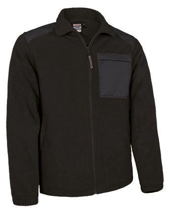 Basset flísová bunda na zip, s náprsní kapsou, černá