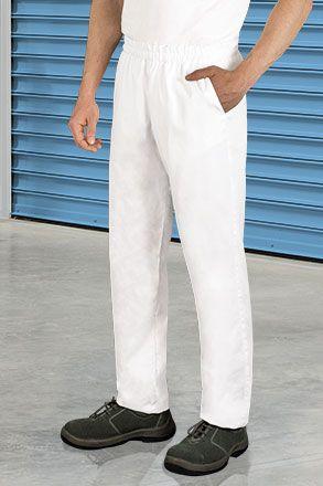 Značkové lékařské/ zdravotnické kalhoty na gumu Clarim, bílé