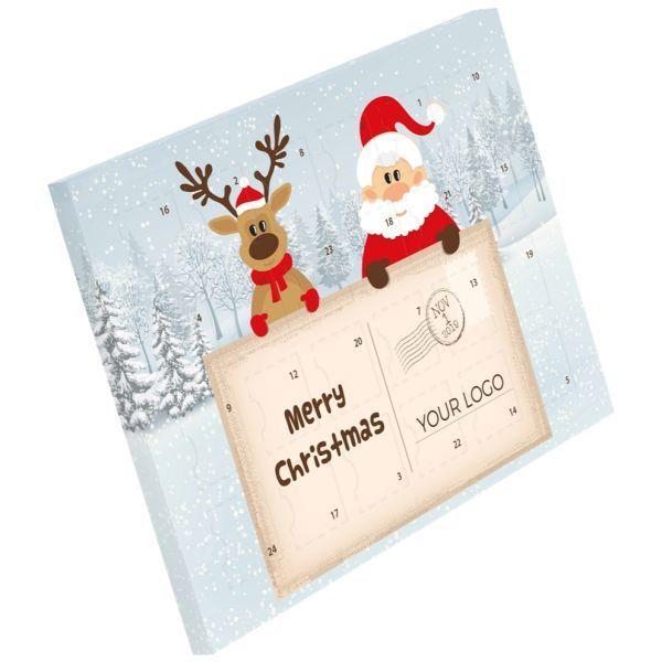 Adventní kalendář XS s vlastním potiskem, mléčná čokoláda