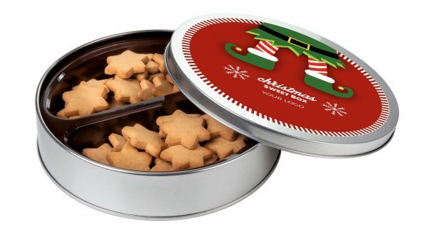 Vánoční sušenky - zázvorové sušenky v plechové dóze s potiskem
