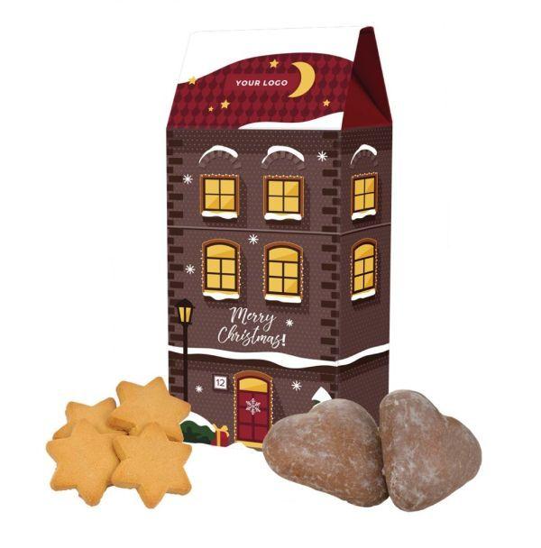 Reklamní domeček s vánočními perníčky, srdíčka nebo hvězdičky