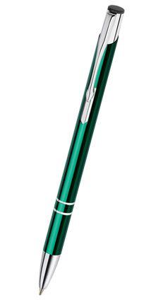 Reklamní propiska kovová COSMO - slim, zelená CS13