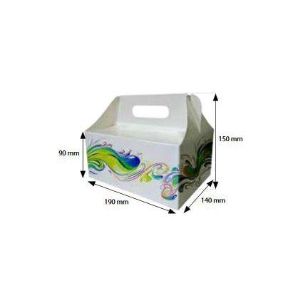 Krabice na dorty s rukojetí 180x140x90mm