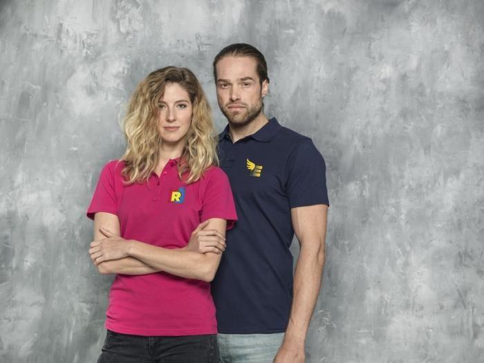Pánské a dámské reklamní polo tričko Helios, růžové, modré
