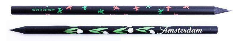 Černé reklamní tužky s potiskem po celém obvodu