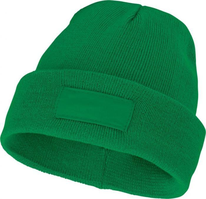 Reklamní zimní čepice Boreas s políčkem na logo, zelená