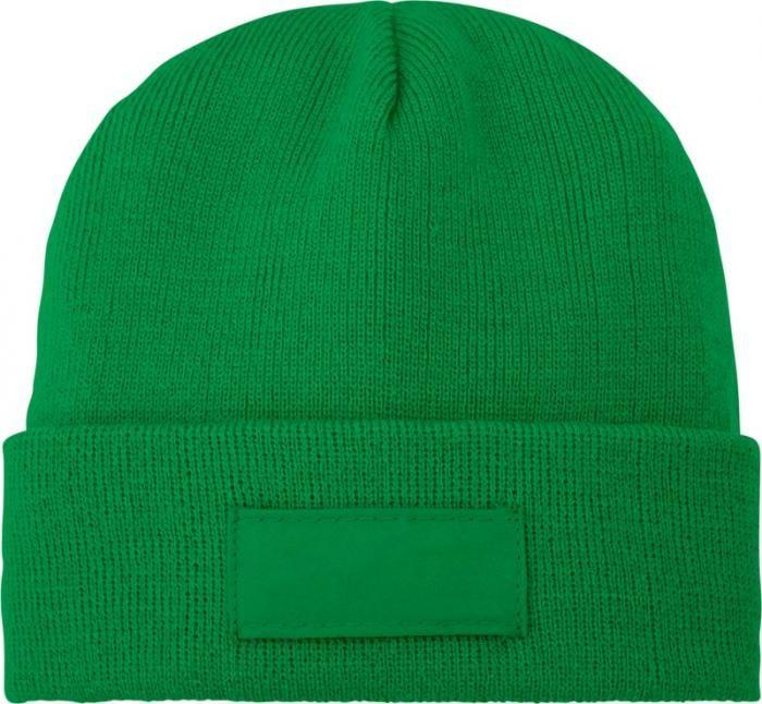 Zimní reklamní čepice Boreas, zelená, s políčkem na logo