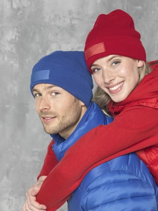Zimní reklamní čepice Boreas, modrá a červená