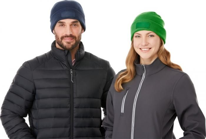 Zimní reklamní čepice Boreas, tmavě modrá a zelená