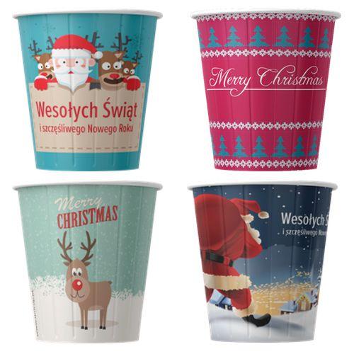 Papírové kelímky na kávu Vánoce 200ml (8oz) 1000ks