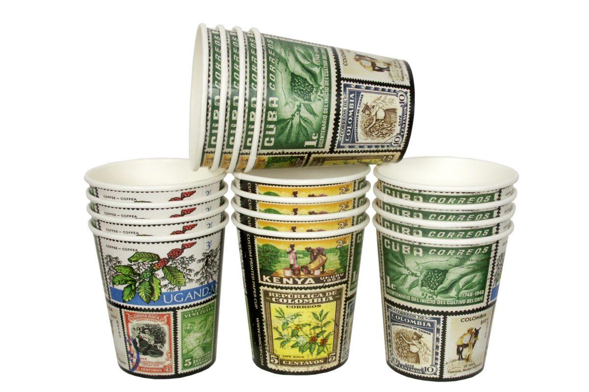Kelímky na kávu Poštovní známky 200ml (8oz) 1000ks