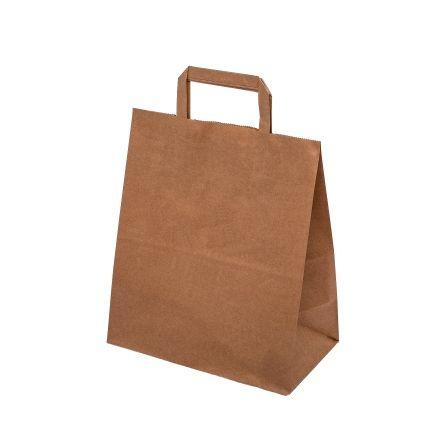Papírová taška hnědá/ bílá 25x11x32cm - 300ks