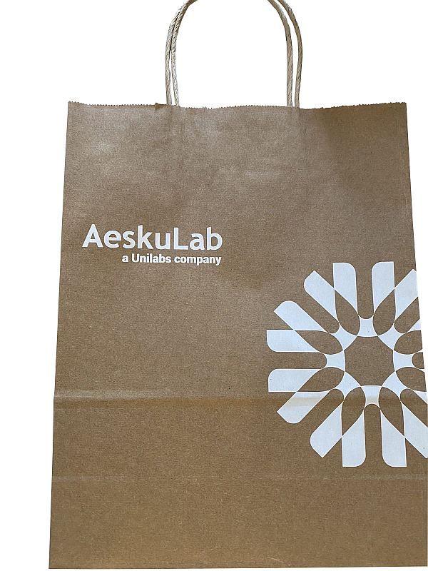 Papírové tašky s potiskem hnědé 25x11x32cm